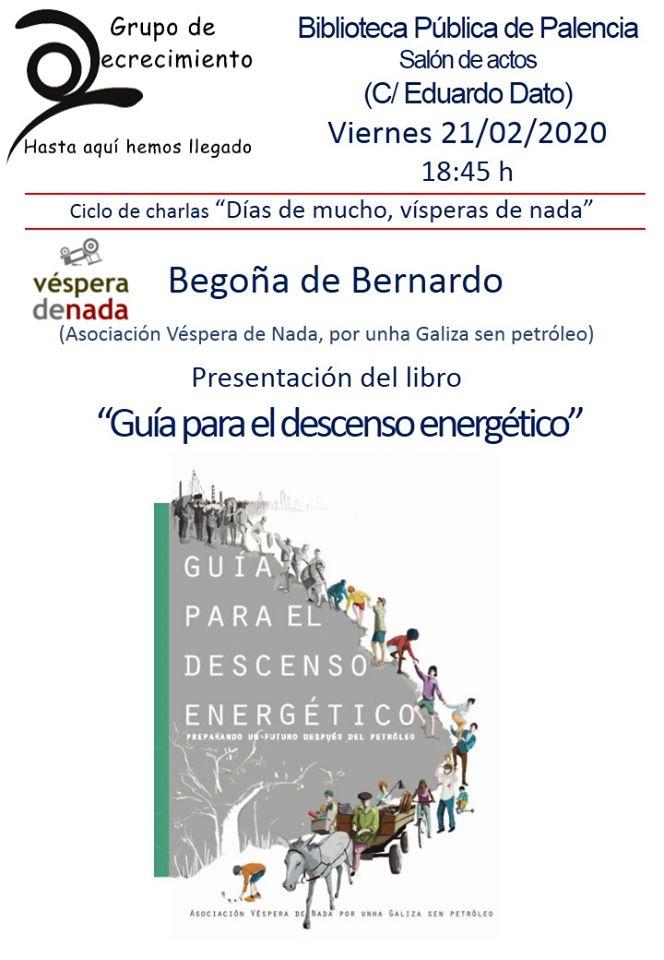 Cartel presentación 'Guía para el descenso energético' en Palencia